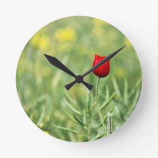 Single Red Poppy Clock
