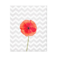 Single red poppy on grey and white chevron pattern