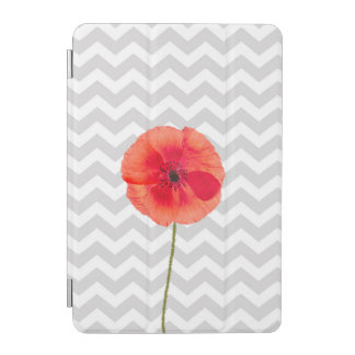Single red poppy on grey and white chevron pattern iPad mini cover