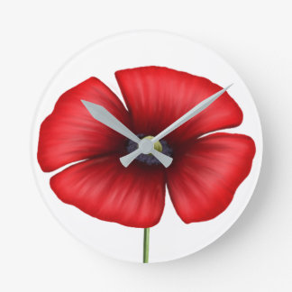 Single Red Poppy Wall Clock