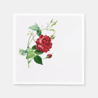 Single Red Redoute Rose on Eggshell Napkins Disposable Napkin