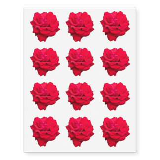 """Single Red Rose Approx. 2 1/2"""" Temporary Tattoos"""