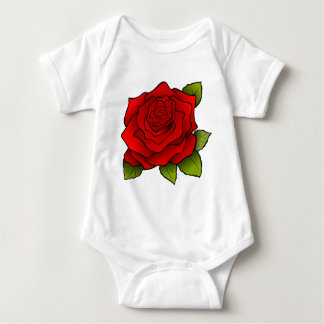 Single Red Rose Baby Bodysuit