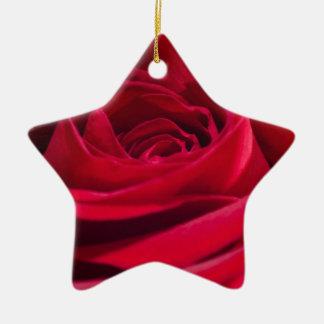 Single Red Rose Ceramic Star Decoration