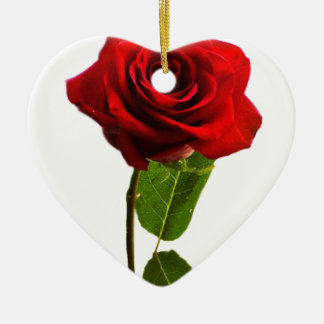 """Single red rose"" Christmas Ornament"