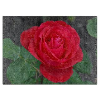Single red rose cutting board