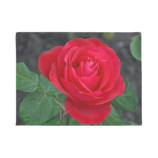 Single red rose doormat