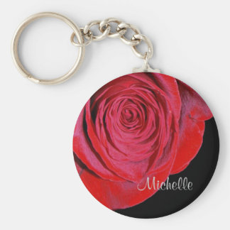 Single Red Rose Personalized Basic Round Button Key Ring