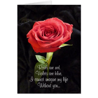 Single Red Rose Romantic Valentines Day Poem Greeting Card