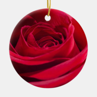 Single Red Rose Round Ceramic Decoration