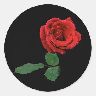 Single Red Rose Round Sticker