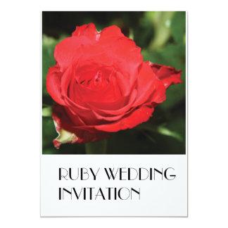 Single Red Rose Ruby Wedding Invitation