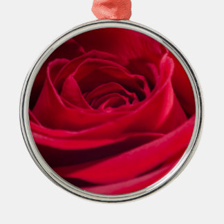 Single Red Rose Silver-Colored Round Decoration