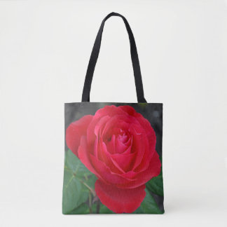 Single red rose tote bag