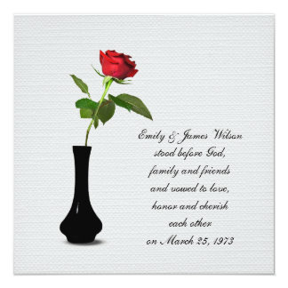 Single Red Rose vow renewal 13 Cm X 13 Cm Square Invitation Card