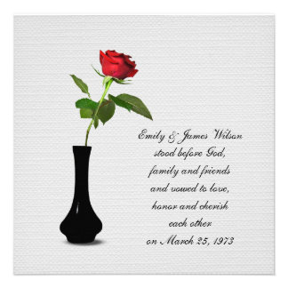 Single Red Rose vow renewal Invitations