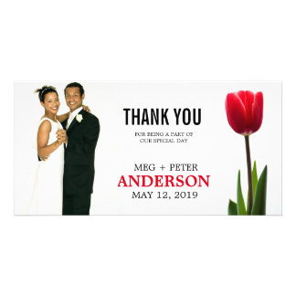 Single Red Tulip Elegant Wedding Photo Thank You Picture Card