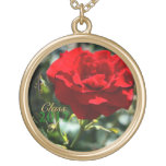 Single Rose Class of Graduation Gold Necklace