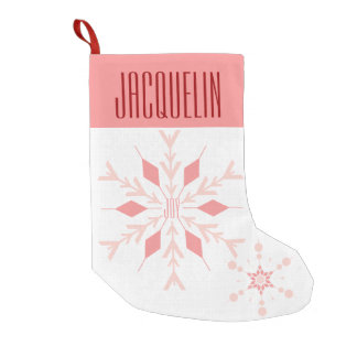 Single Sided Joy Pink Snowflake Small Christmas Stocking