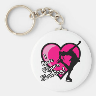 Single Skater, Hot Pink & Black Basic Round Button Key Ring