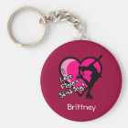 Single Skater, pink - Add Your Name KeyChain