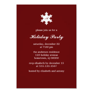 Single Snowflake Monogram Invitations