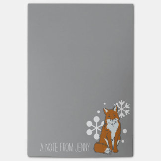 Single Snowy Winter Red Fox Pattern Post-it® Notes