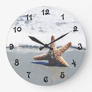 Single Starfish Washed Ashore Large Clock
