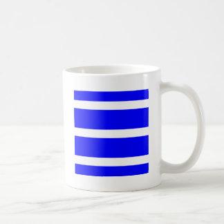 Single Stripe - White on Blue Mugs