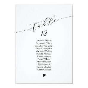 Single table wedding seating chart, elegant font invitation