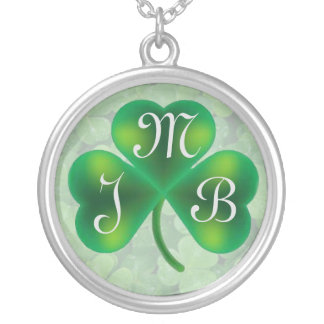 Single Three Leaf Clover on Clover Monogram Silver Plated Necklace