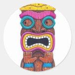 single tiki mask round stickers