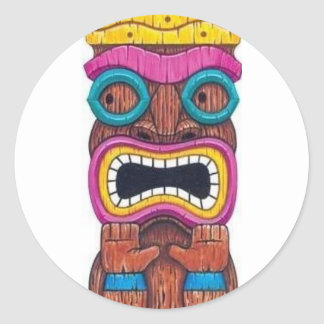 single tiki mask round sticker