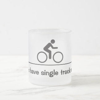 single track mind frosted glass coffee mug