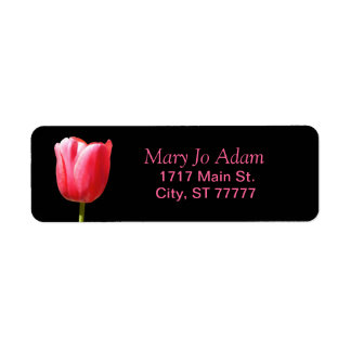 Single Tulip Rose Black Return Address Label