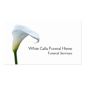 Single white arum lily funeral director pack of standard business cards