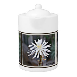 Single White Cactus Bloom Tea Pot