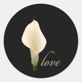 Single white calla lily round sticker