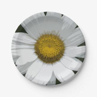 Single White Daisy Paper Plate