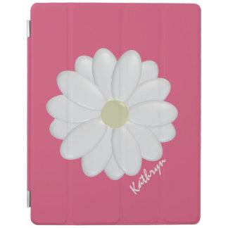 Single White Flower Custom Name Pink iPad Cover