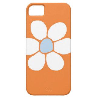 single white flower on orange iPhone 5/5S cases