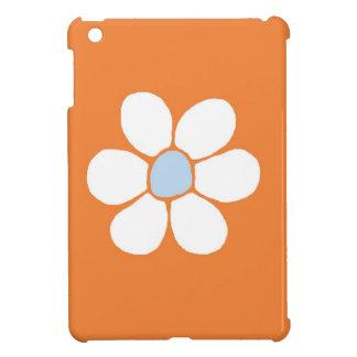 single white flower on orange case for the iPad mini