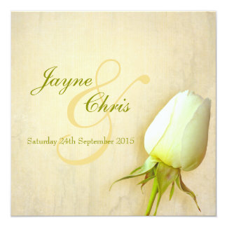 Single white rose bud wedding square invitation