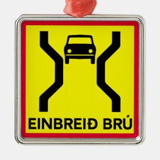 Single-Width Bridge, Traffic Sign, Iceland Christmas Ornament