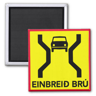 Single-Width Bridge, Traffic Sign, Iceland Magnet