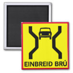 Single-Width Bridge, Traffic Sign, Iceland Square Magnet