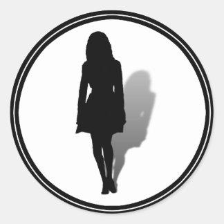 Single Woman Silhouette Round Sticker