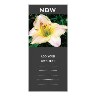 single yellow lily flower. personalised rack card