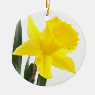 Single Yellow Narcissus Daffodil Round Ceramic Decoration