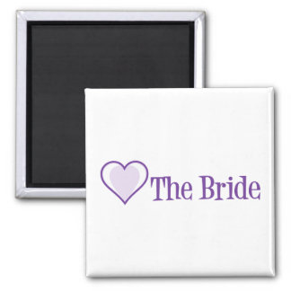 SingleHeart-Bride-Purp Square Magnet